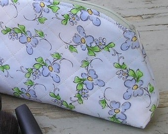 Makeup Bag / Cosmetic Case - Zippered, Quilted Travel Bag