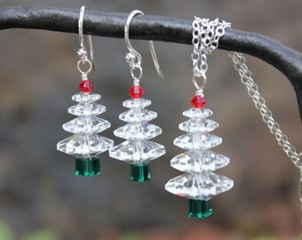 Winter White Christmas tree sterling silver necklace & earring jewelry set - clear, green, red Swarovski crystals- Holidays - ships free USA