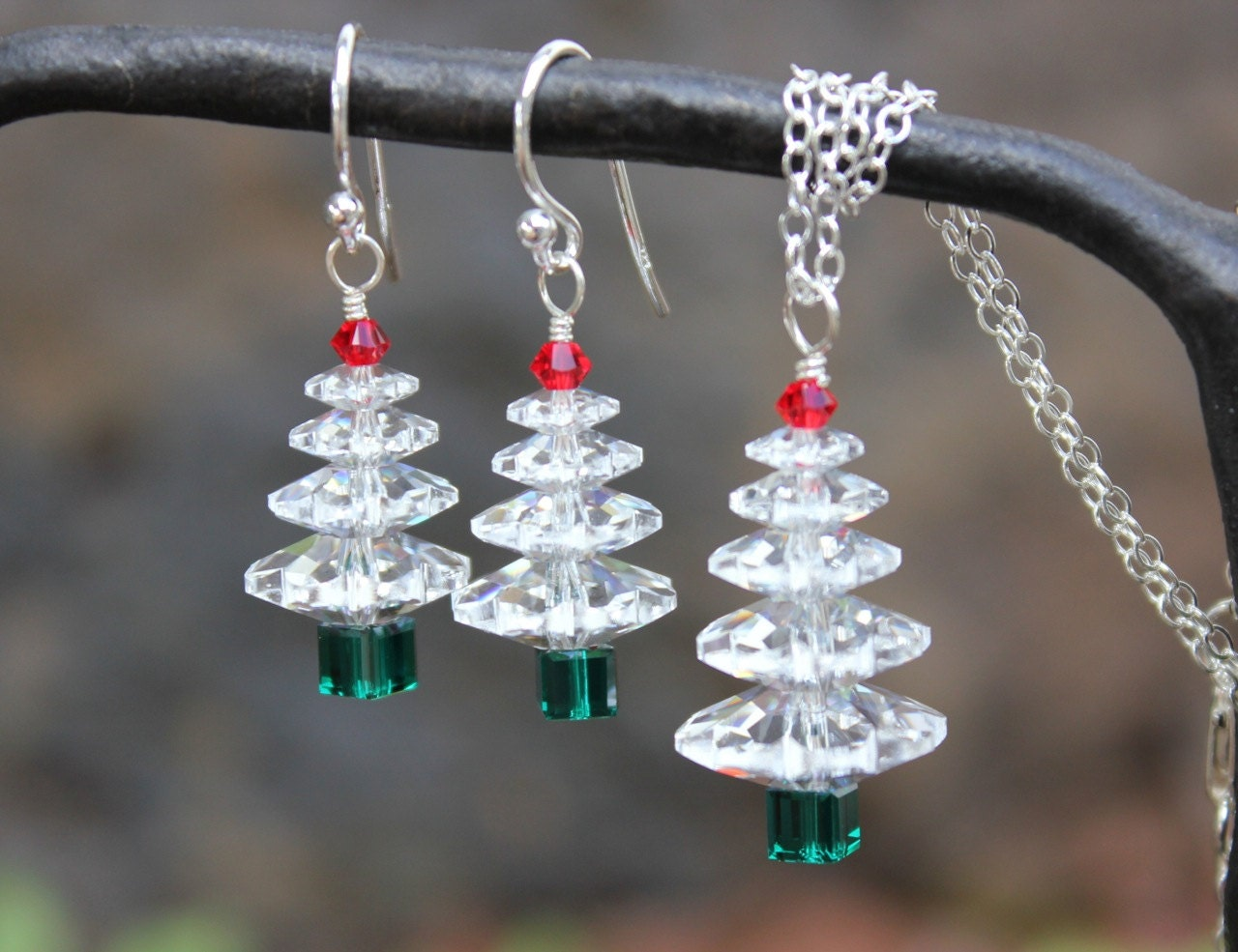Winter white christmas tree sterling silver necklace earring for Sterling silver christmas jewelry