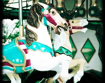 Nostalgic carnival / fair / circus horse photo - Carousel Horses - 8x8 - home decor gothic merry-go-round teal red white