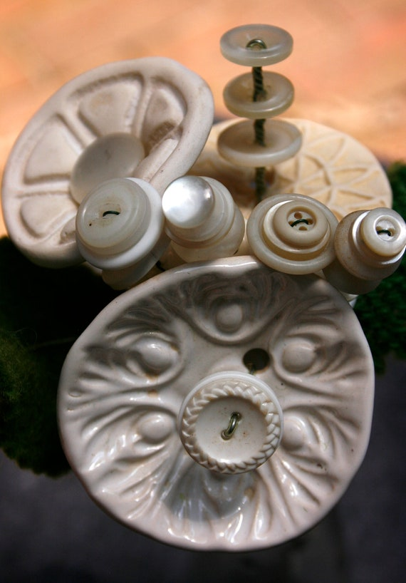 White Button Flower Bouquet small- Ceramic, vintage, and recycled