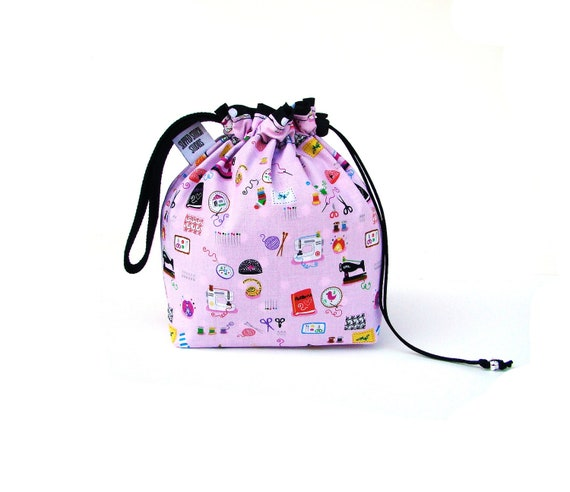Knitting Bag Sock Project Bag Hexipuff Small Wip Bag Crochet Supplies - Kawaii Crafty Girl