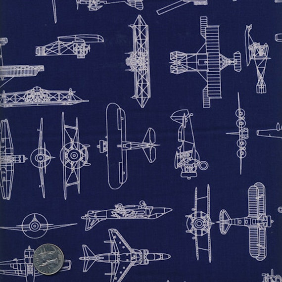 Oop patriots military airplane sketches blue prints army for Airplane print cotton fabric
