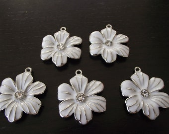 Large White Enamel Rhinestone Flowers- five charms- silver charms