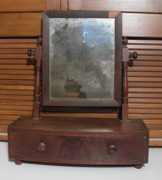 Antique Mahogany Veneer Dresser Shaving Mirror for Restoration