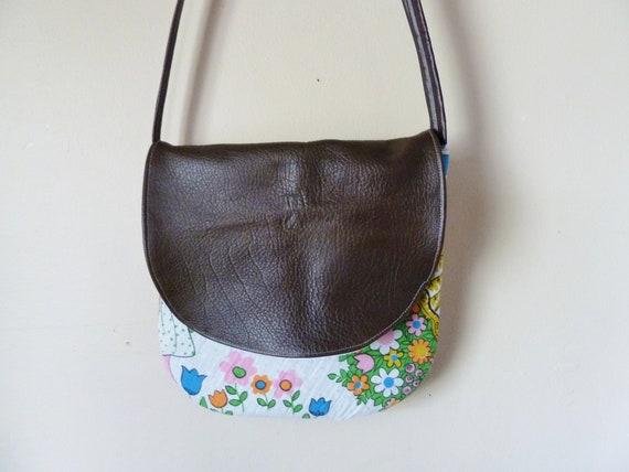 the mod girl folk bag ... vintage cotton, recycled leather, crossbody bag
