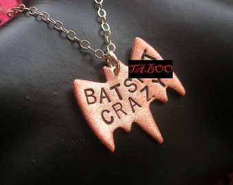 Bat Necklace, Bird Necklace, BATSHIT CRAZY Necklace, Batshit Cray, Animal Art, Bird Shit, Animal Charm, Stamped Copper, Metalwork,Mature