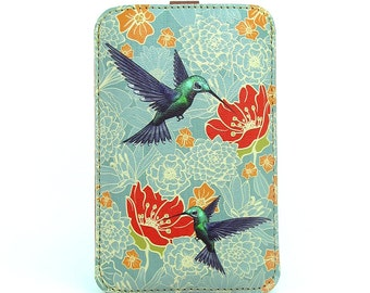 Leather iPhone 6 case, iPhone 5s Case, Galaxy S5 Case - Hummingbirds in floral bliss
