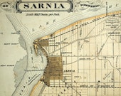 Antique Map of Sarnia and Sombra Townships, Ontario. Published in 1880
