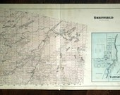 1878 Antique Map of Sheffield Township, Ontario, Canada - With Inset of Tamworth - Large hand coloured map