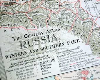 1902 Century Atlas Antique Map of Russia, Western and Southern Part