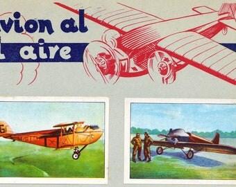 1932 Vintage Spanish Sheet of Illustrations on Light Aircraft / Del ligero avion al gigante del aire. Sheet 27