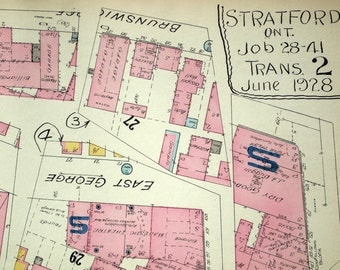 1950 Rare Vintage Map of Stratford, Ontario No. 2 - Street and Building Map - Vintage City Map - Old City Map