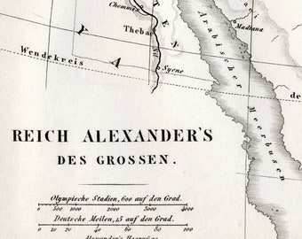 1851 German Vintage Map of the Empire of Alexander the Great - Historical Map - Black and White