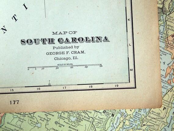 1901 Large Antique Map of South Carolina