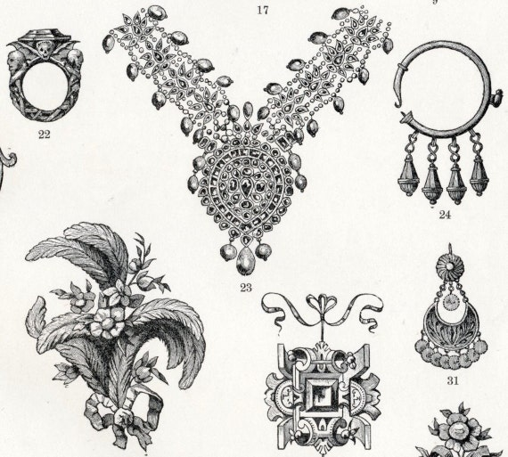 Antique Print of Jewelry - 1895 Vintage Print - Gift for Her