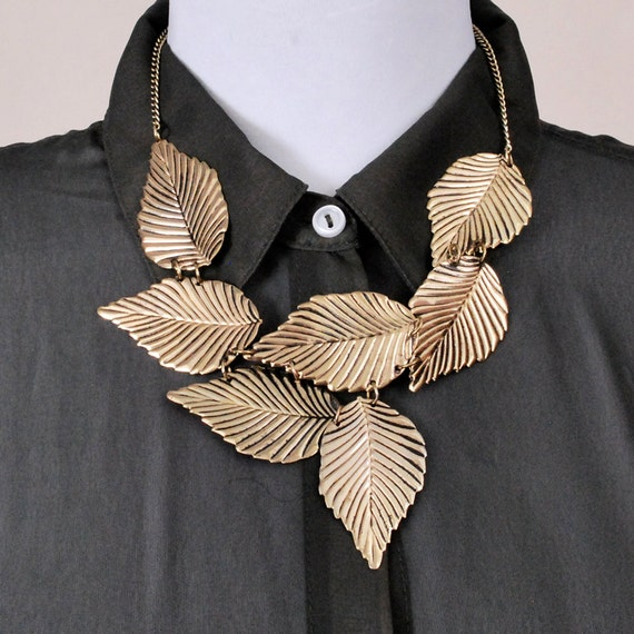 Vintage Statement Necklace - gold LEAVES leaf pendant, wedding jewelry, steampunk jewelry  - FREE worldwide shipping