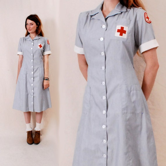 Vintage 40s 1940s Nurse Uniform Dress m/l - Red Cross nursing uniform, pinstripe shirt dress, halloween costume - FREE Worldwide Shipping