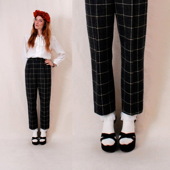Vintage High Waist Pants s/m - PENDLETON high waist trouser, wool trouser, cropped trouser pant, navy plaid wool - FREE Worldwide Shipping