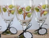 Holiday berry and twig design iced tea kitchen glasses in a set of 4.  Dishwasher safe