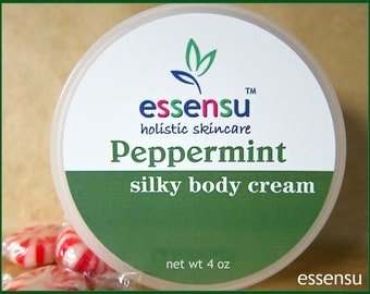 Peppermint Essential Oil Aromatherapy Silky Rich Natural Body Cream with Vegan Silk Protein | Rejuvenating Spa Formula | No Parabens - 4 oz
