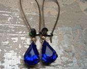 SPLASH, Blue Earrings, Vintage Earrings, Rhinestone Earrings, Rhinestone Drop Earrings, Bridesmaids Gifts Earrings