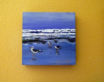 Seagulls On A Northwest Coast Beach Original Acrylic Wall Art Beach Painting