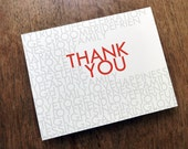 Printable Thank You Card - Instant Download Thank You Note - Thank You Card PDF Template - Gray & Red Typography - Typographic Thank You PDF