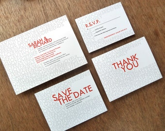 Printable Wedding Invitation Set - Gray and Red Modern Typography - Instant Download Wedding Invite, Save the Dates, RSVPs, Info Cards etc.