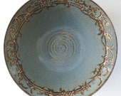 Decorative Handmade Gray Blue Large Deep Stoneware Bowl - Wedding Gift - 16 cups - JanFairhurstPottery