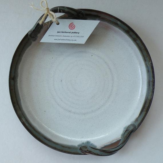 Handmade Pottery White Blue SERVING DISH - Housewarming Gift - Pie Plate