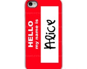 On Sale! Personalized Name - Hello My Name is Tag Red with White, Black or Clear Sides iPhone Case 4, 4S, 5, 5S, 5C Hard Cover artstudio54