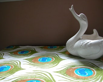 Peacock feather hand block printed colorful tropical home decor turquoise white linen table runner