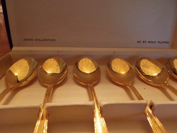 Vintage Janis Collection 24K  Gold Plated Set of 6 Demi Spoons