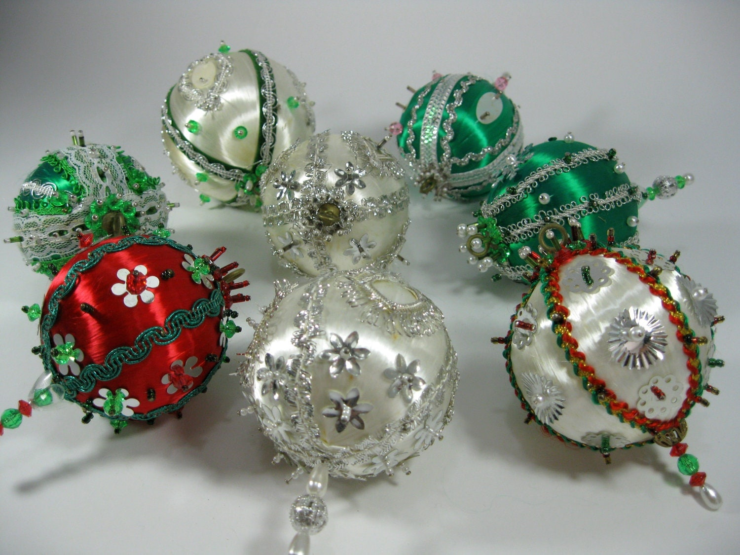 1970s Vintage Beaded Christmas Ornaments Beaded Ball Holiday