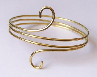 Gold Armlet Armband Upper Arm Jewelry - Smooth Arm Band Upper Arm Bracelet - Small Swirl Coiled - Brass - Copper - Bronze - German Silver