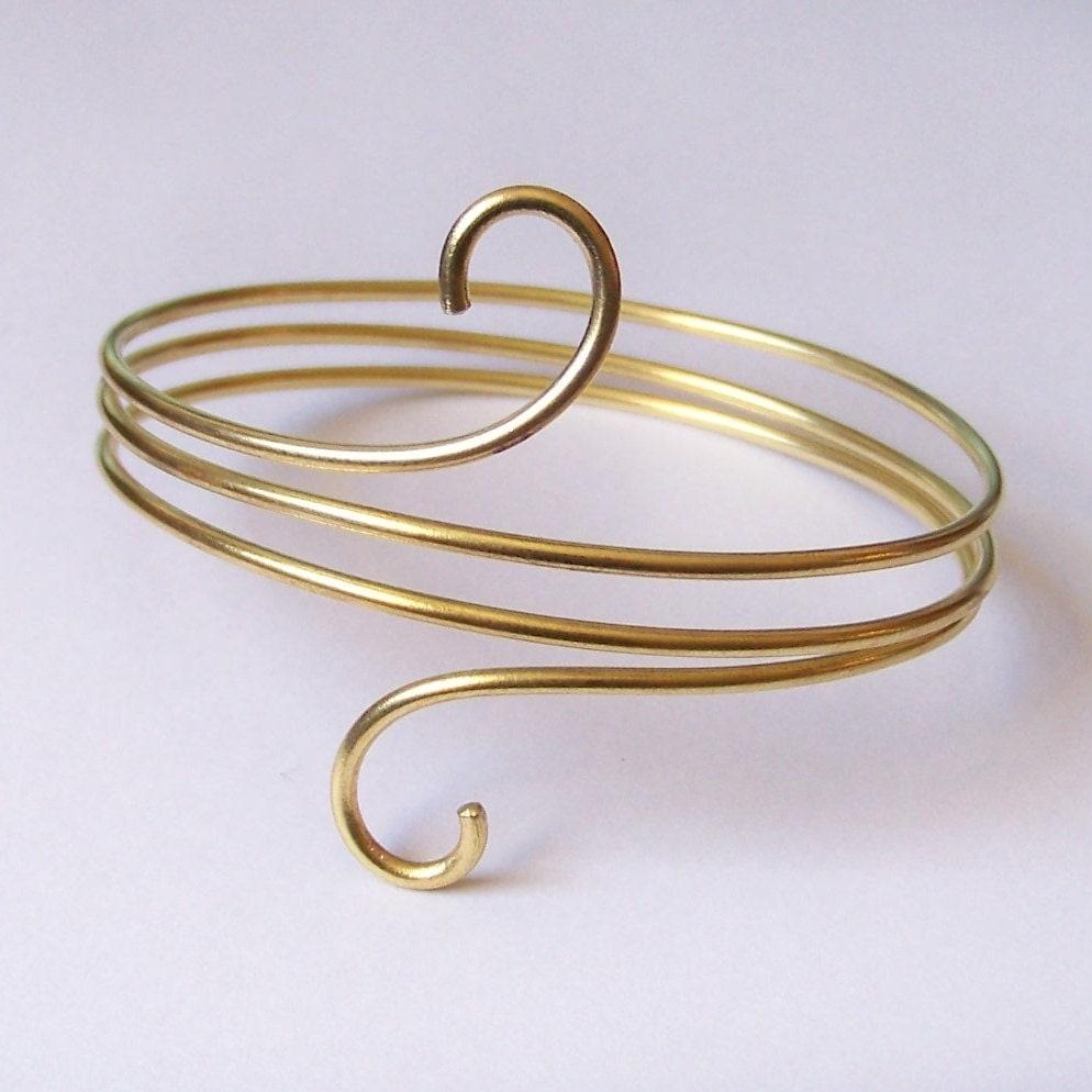 Arm Cuff Jewelry: Brass Armlet Armband Upper Arm Jewelry Smooth Gold By