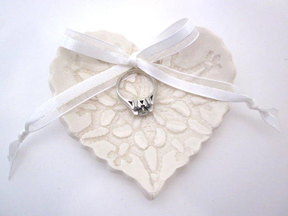 Ring bearer pillow, Antique  White Lace heart dish, wedding ring dish,  Ring holder, Ceramic pottery