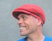 men's driver's cap/ burnt orange cotton crochet- made to order