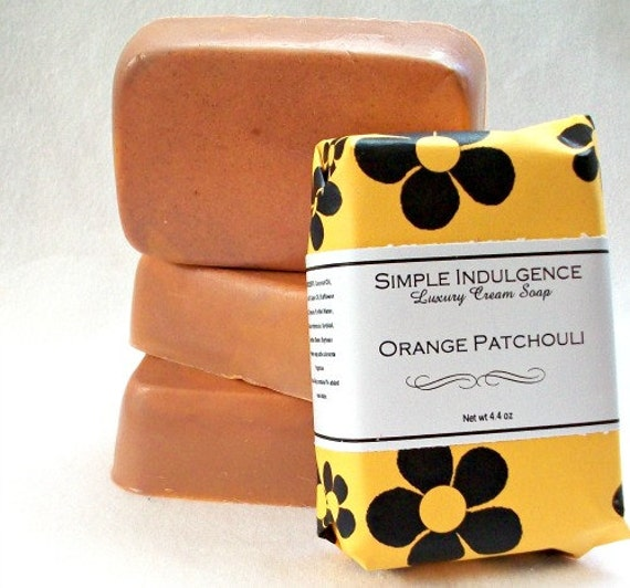 Orange Patchouli Soap, Shea butter enriched, handmade soap, brown orange color, gentle creamy lather soap