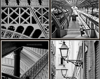 Set of 4 Wrought Iron Photographs. Train Station, Eiffel Tower, Brown Palace Hotel in Denver, Barcelona 8x8