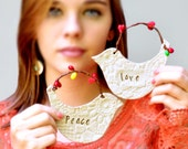 handmade Christmas Ornament Neon Christmas decor PEACE and LOVE
