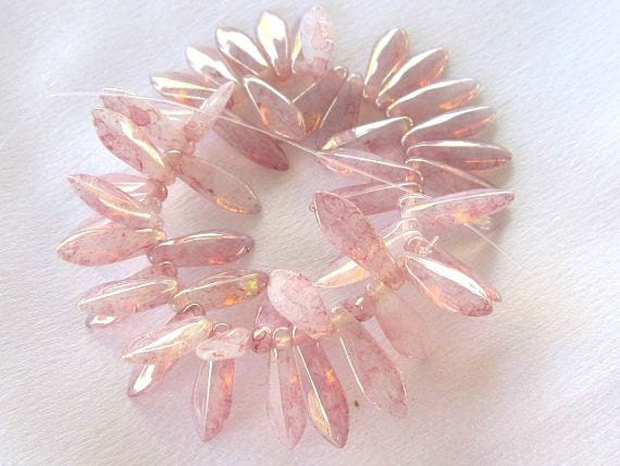 Rose Opalite with Picasso Daggers, Czech Beads, 5 x 15mm, 16 Pieces