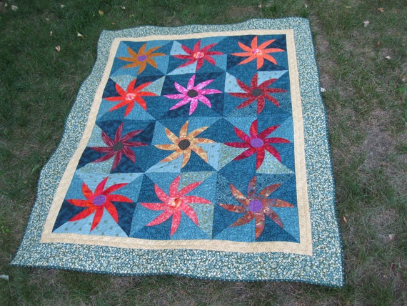Spinning Wheel of Autumn Flowers Lap Quilt