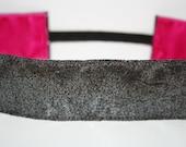 Thick Metallic Gray Non-Slip HeadBand