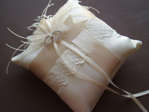 Ivory Ring Bearer Pillow LACE WEDDING feather bridal accessories Ready to Ship