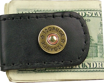 Handcrafted Leather Money Clip with Shotgun Shell