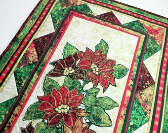 Poinsettia Christmas Quilt Wall Hanging Red Green And