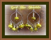 Yellow/ Brown Czech Chandelier Earrings