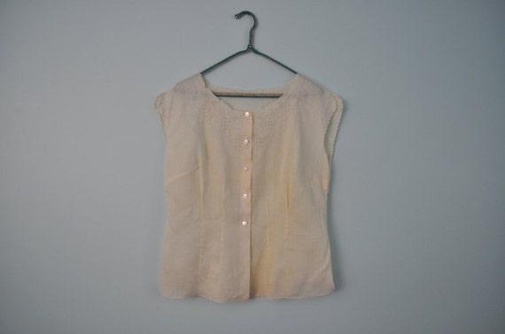 vintage 1950's blouse sleeveless linen top XL